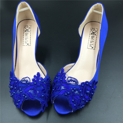 Royal Blue Low Heel Shoes denzmnIb
