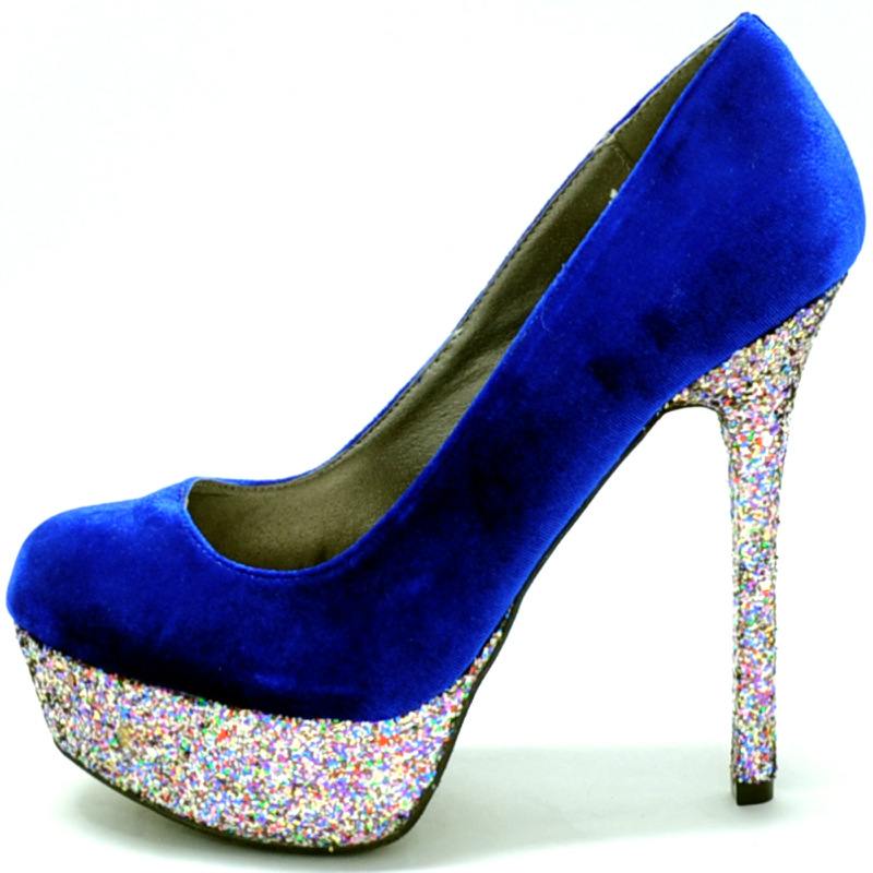 Royal Blue Sparkly Heels MHQxZM4a