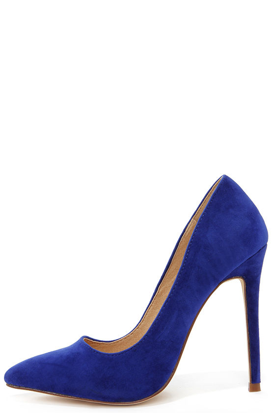 Royal Blue Suede Heels E8luZPr1
