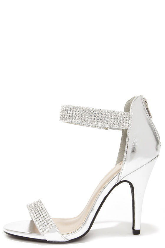 Silver And White Heels PvWnLgfl