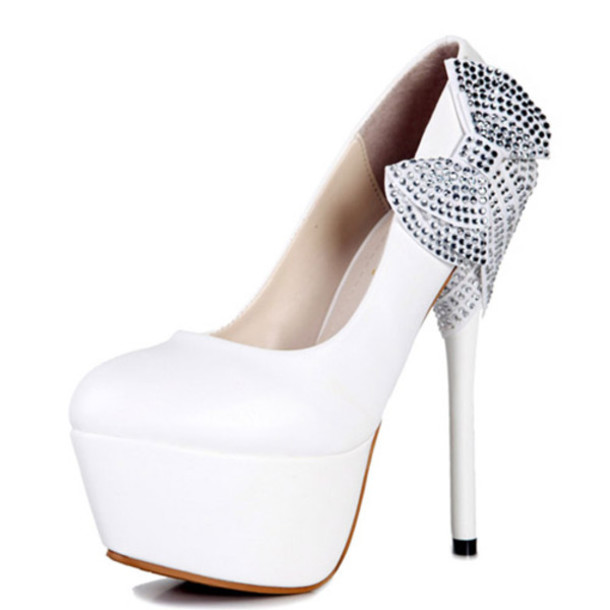 Silver And White Heels kAQLvhBV