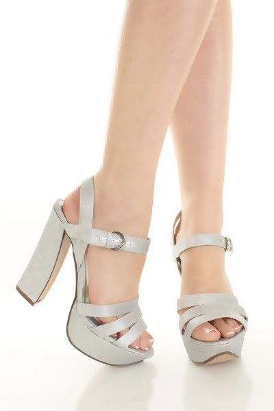 Silver Chunky Heel Shoes 31DgtnOz