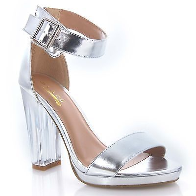 Silver Chunky Heel Shoes PufAIVqE