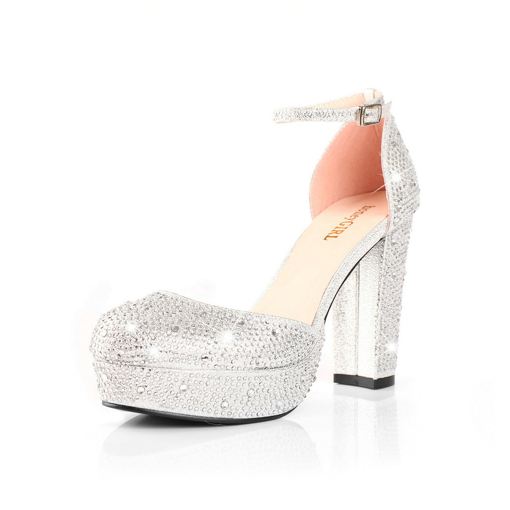 Silver Chunky Heel Shoes 0O0smkbK