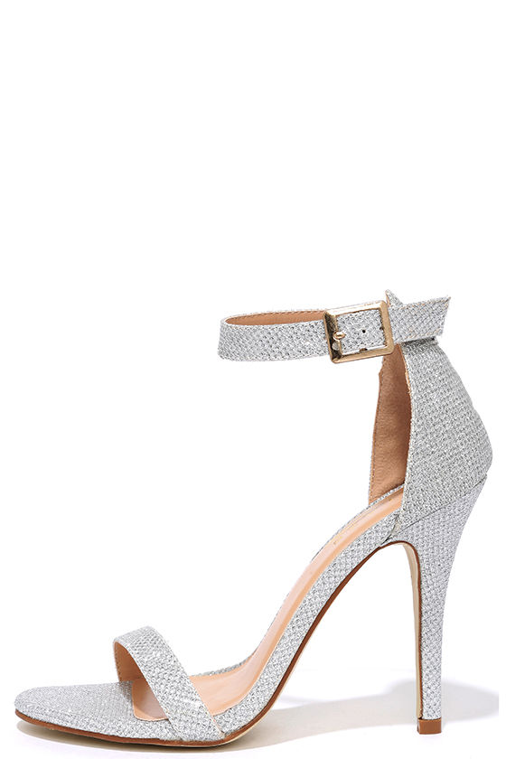 Silver Glitter Heels With Ankle Strap 4tJxAc2d