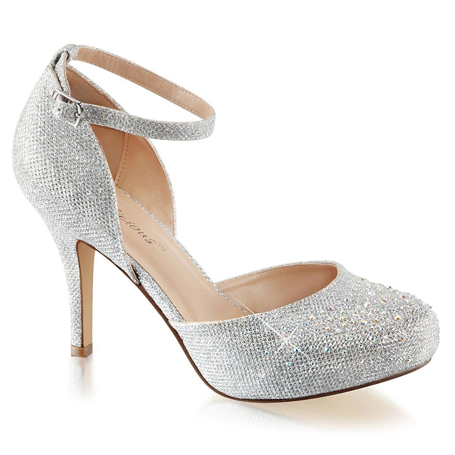 Silver Glitter Heels With Ankle Strap CLL5teyo
