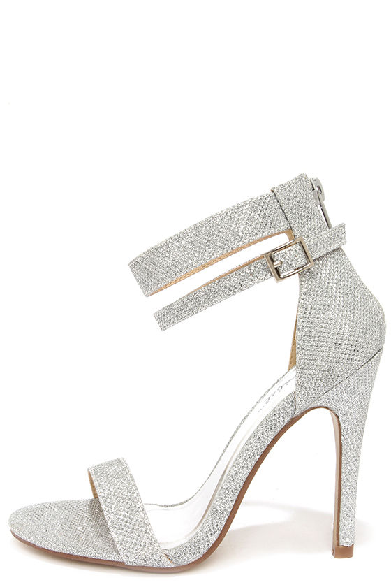Silver Heels With Ankle Strap q5LMRojD