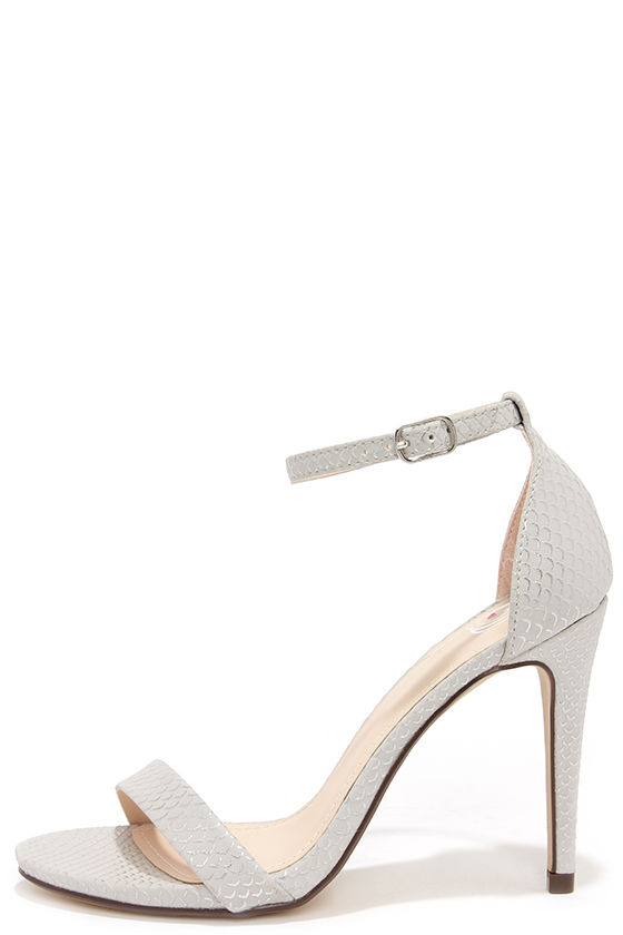 Silver Heels With Ankle Strap Q3HAW7wX