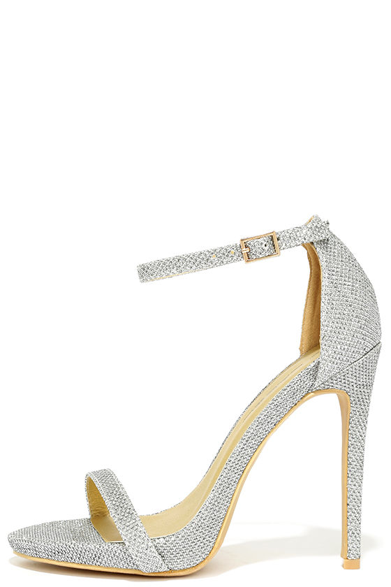 Silver Heels With Ankle Strap 5wPwtuv4