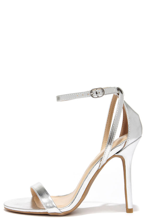 Silver Heels With Ankle Strap 3qK4Ed6b