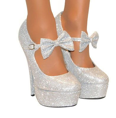Silver Heels With Bow YaVAf984