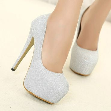 Silver High Heels Closed Toe xrCeLbBT