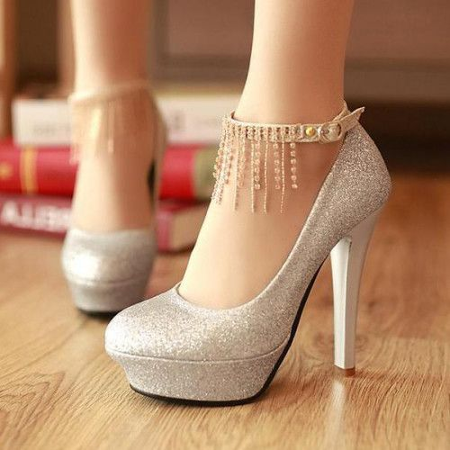 Silver High Heels Closed Toe RAnoRqSm