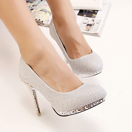 Silver High Heels Closed Toe z5bh25LG