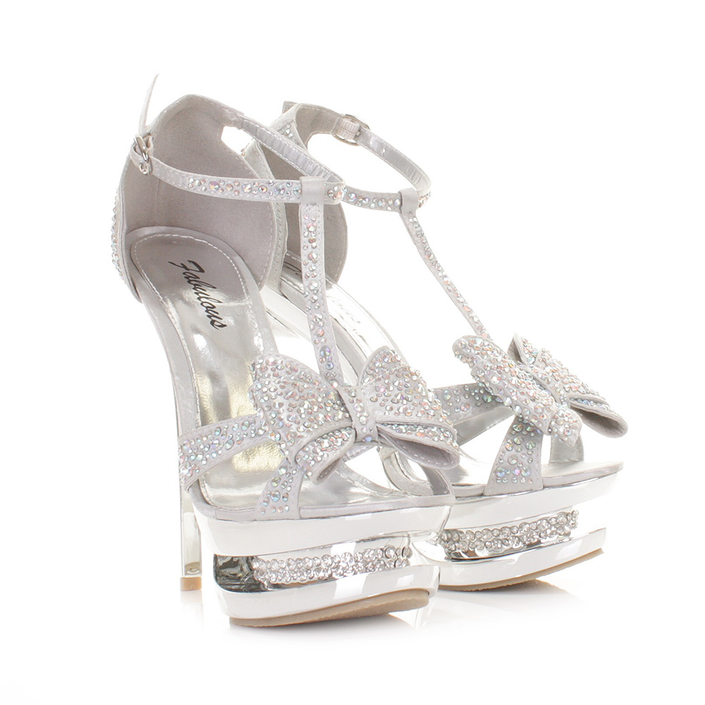 Silver High Heels With Bows 3guVWkH5