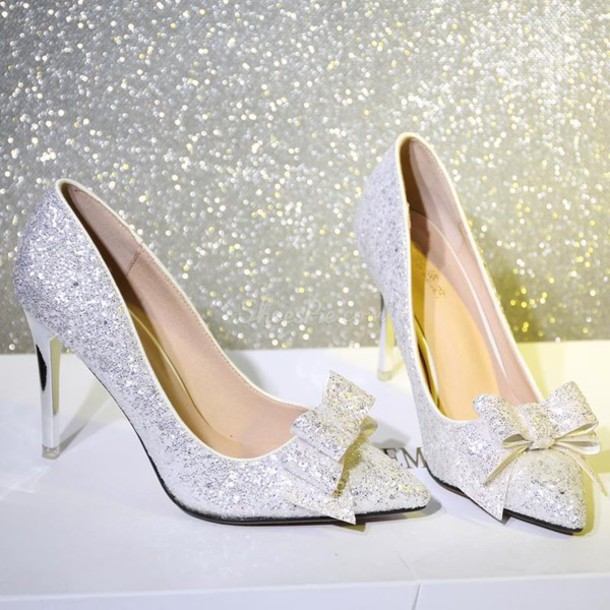 Silver High Heels With Bows jMqMKWjM