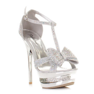 Silver High Heels With Bows 38piWgqB