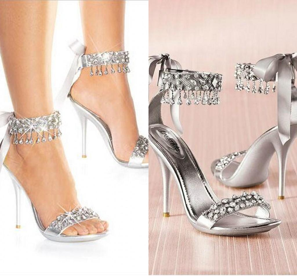 Silver High Heels With Rhinestones gSH1wgLE