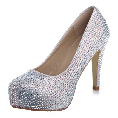 Silver High Heels With Rhinestones niReOtTd