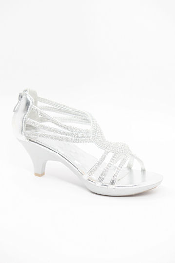 Silver Low Heel Prom Shoes j0q0gHTl