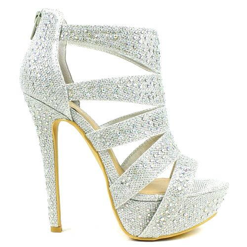Silver Open Toe Heels For Prom hVXD05P6