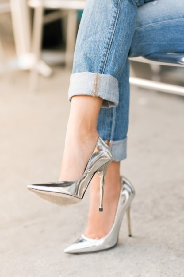 Silver Pointed Heels 00d5EExk