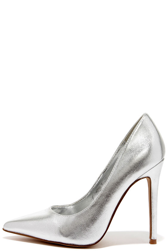 Silver Pointed Heels parNxqFW
