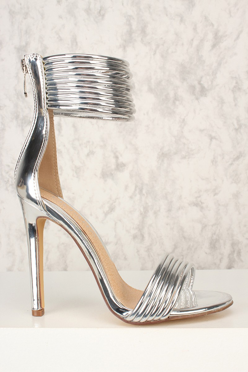 Silver Strappy High Heels 0oeGUxdw