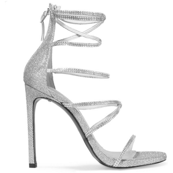 Silver Strappy High Heels MxVa2Edt