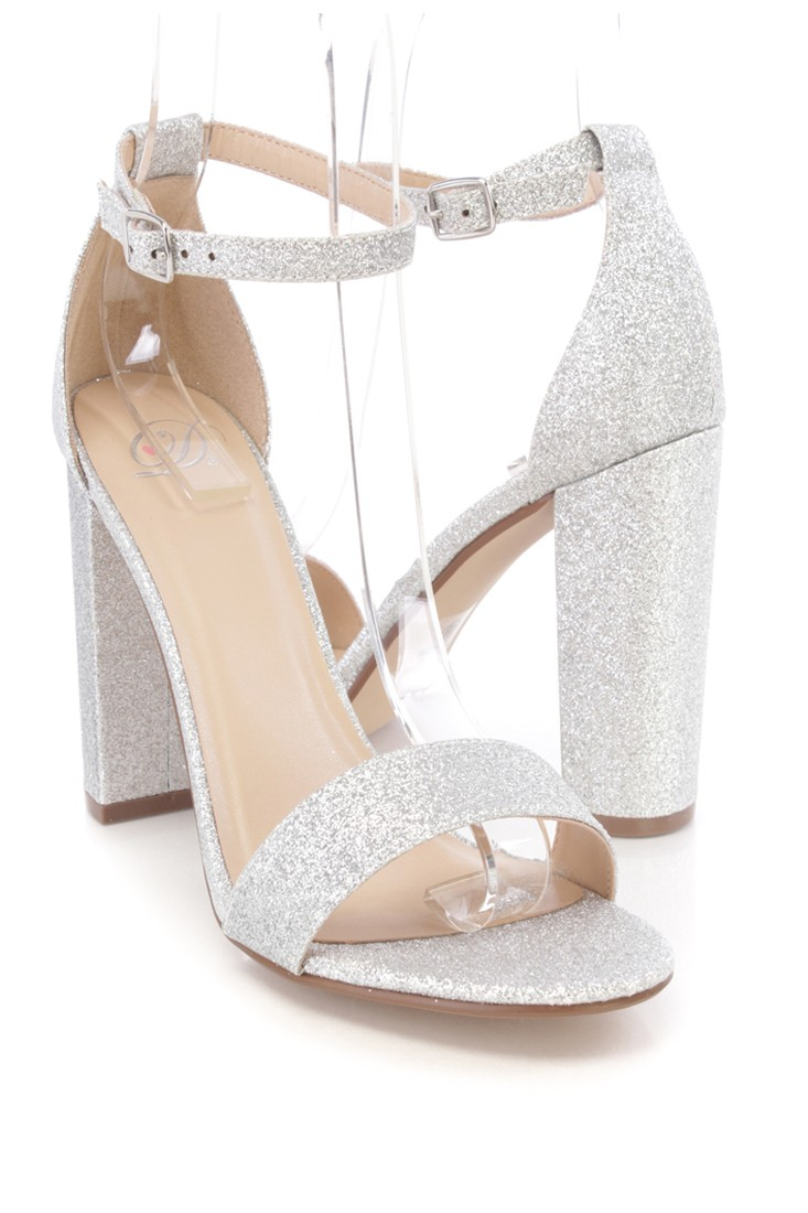 Silver Thick Heel Shoes GudZVDch