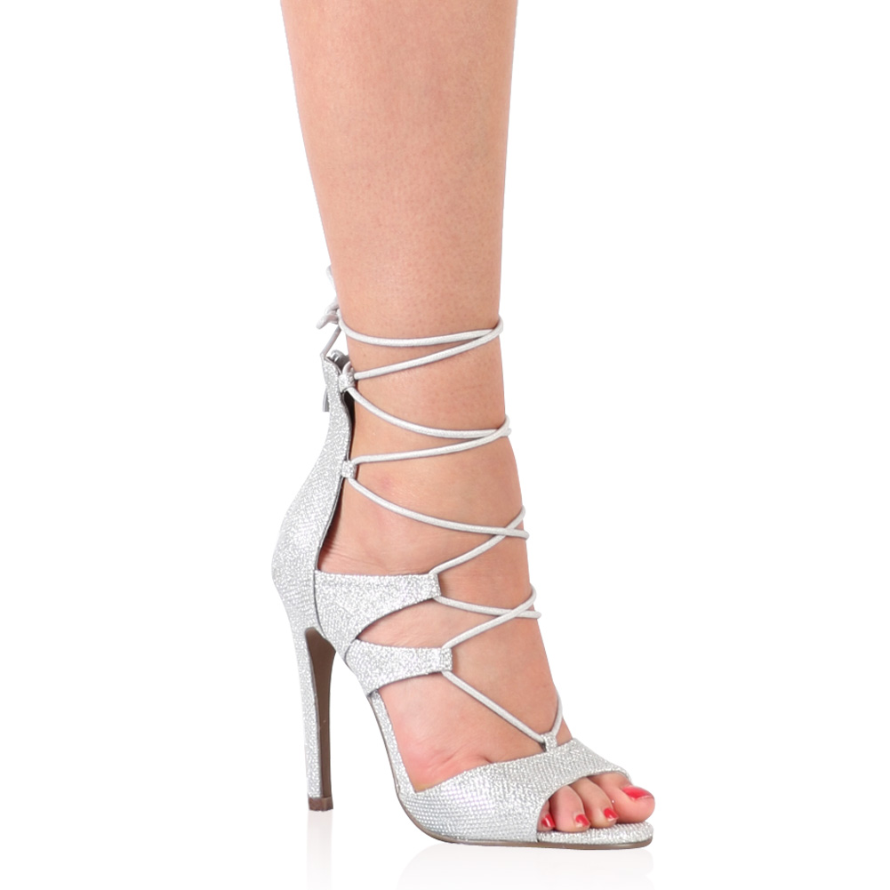 Silver Tie Up Heels 3qxFWo0o