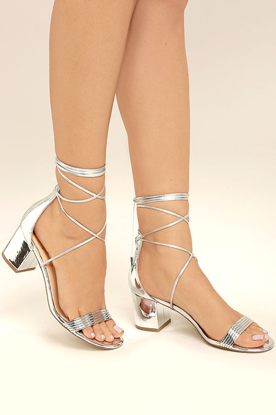 Silver Tie Up Heels ChaO4sBV