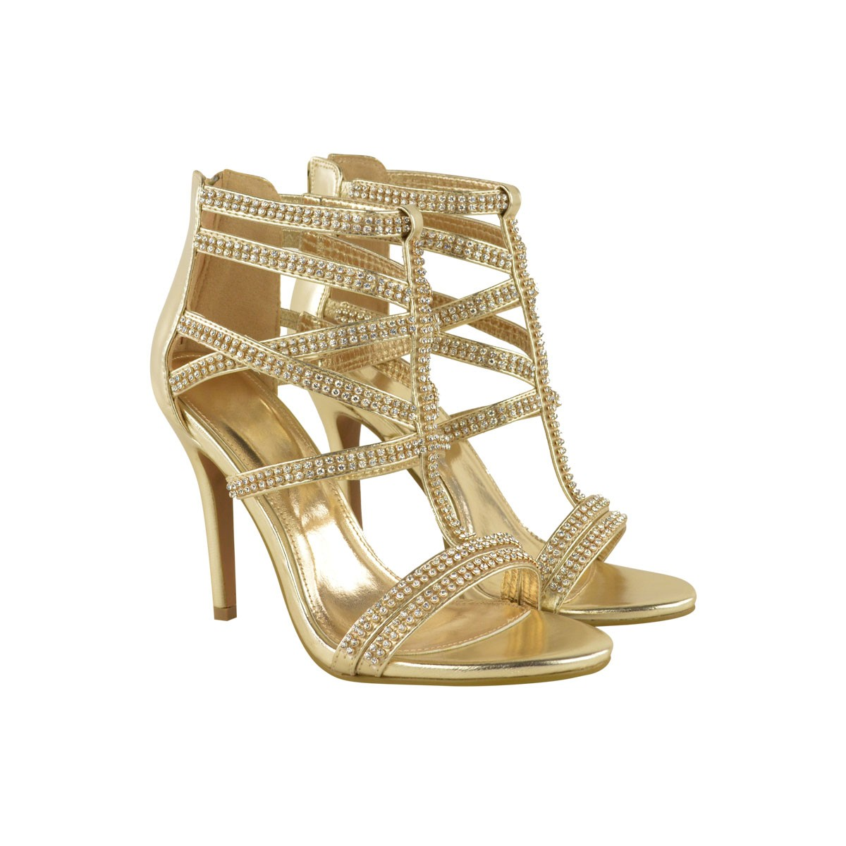 Strappy Gold High Heels VvA34s8o