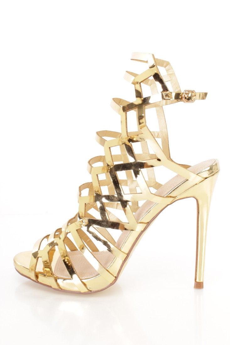 Strappy Gold High Heels oTRdALLo