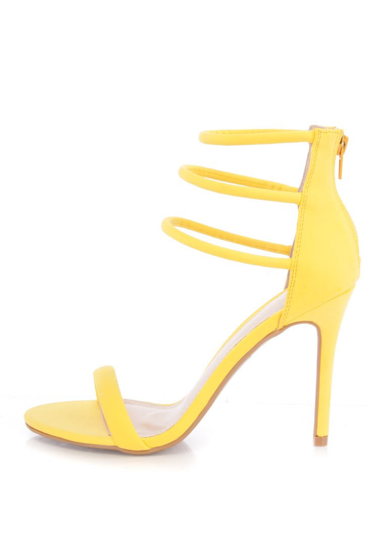 Strappy Yellow Heels QXus43Sy
