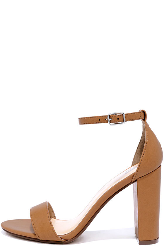 Tan Heels With Ankle Strap SA35SokK