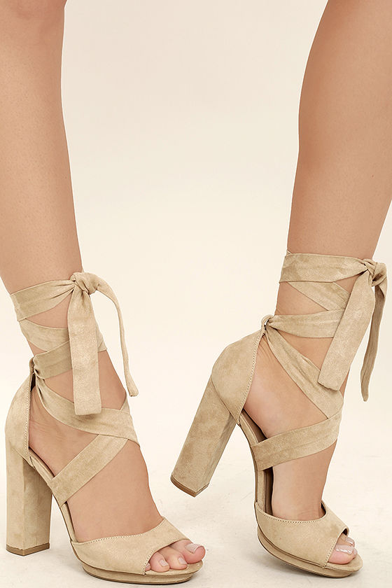 Tan Lace Up Heels YI1YSUmO
