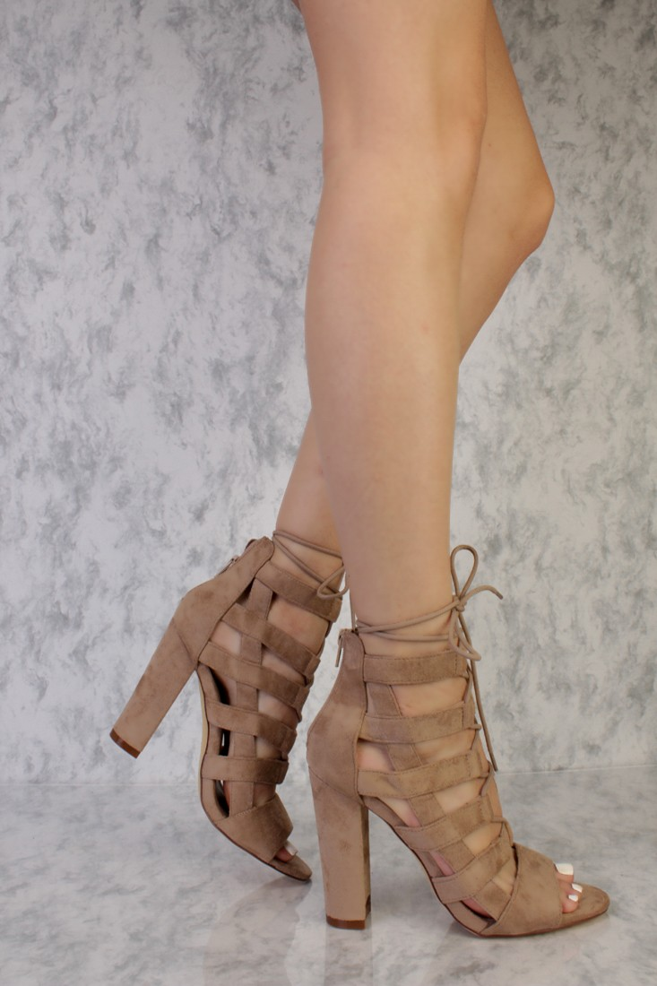Taupe Strappy Heels 9xy1tpGl