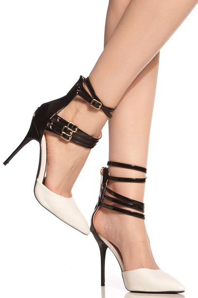 White And Black Heels With Ankle Strap GcdRnXRf