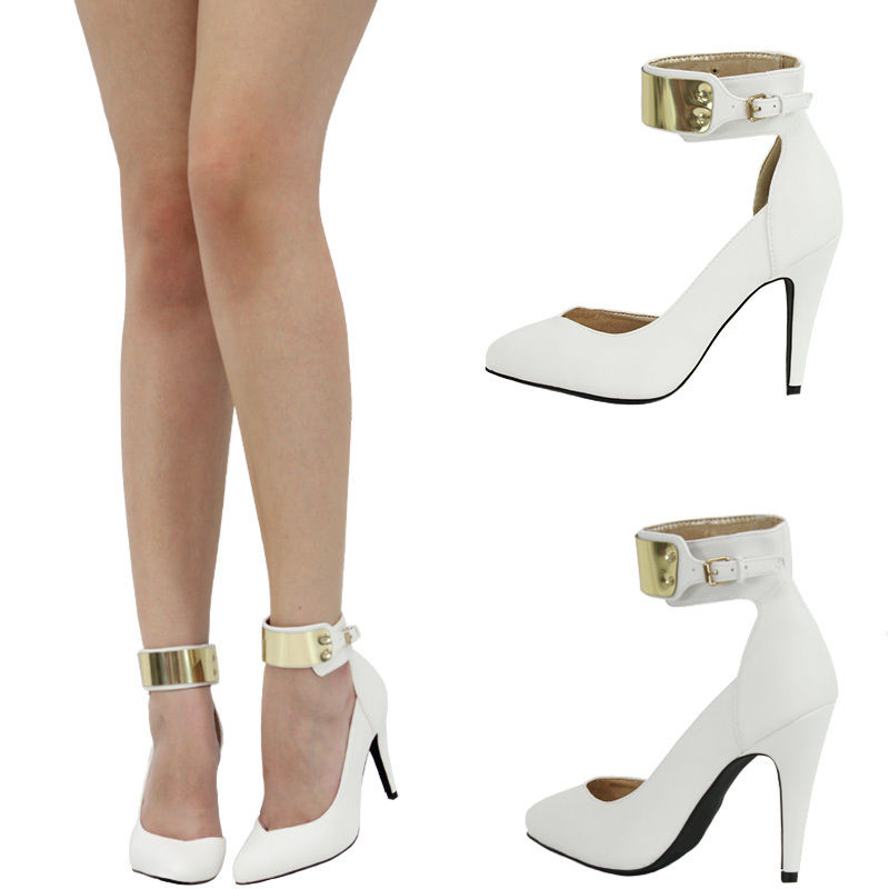White And Gold Ankle Strap Heels NKbwwUTk