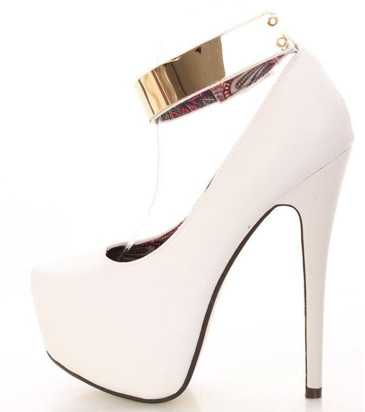 White And Gold Ankle Strap Heels cHpVDIdO