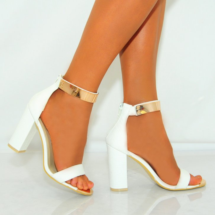 White And Gold Ankle Strap Heels ns3AXr1p