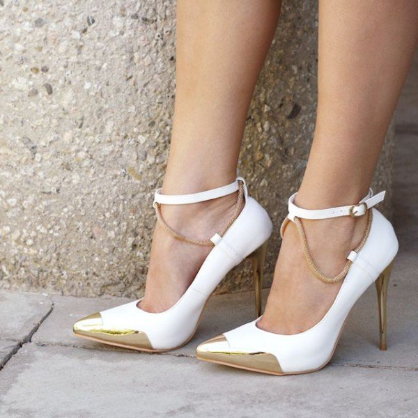White And Gold Ankle Strap Heels QYEhfFg7