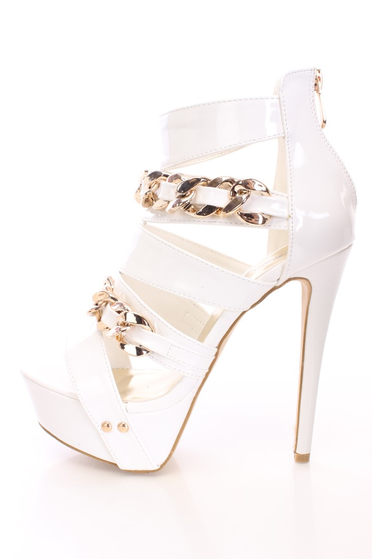 White And Gold High Heels DnJu049F