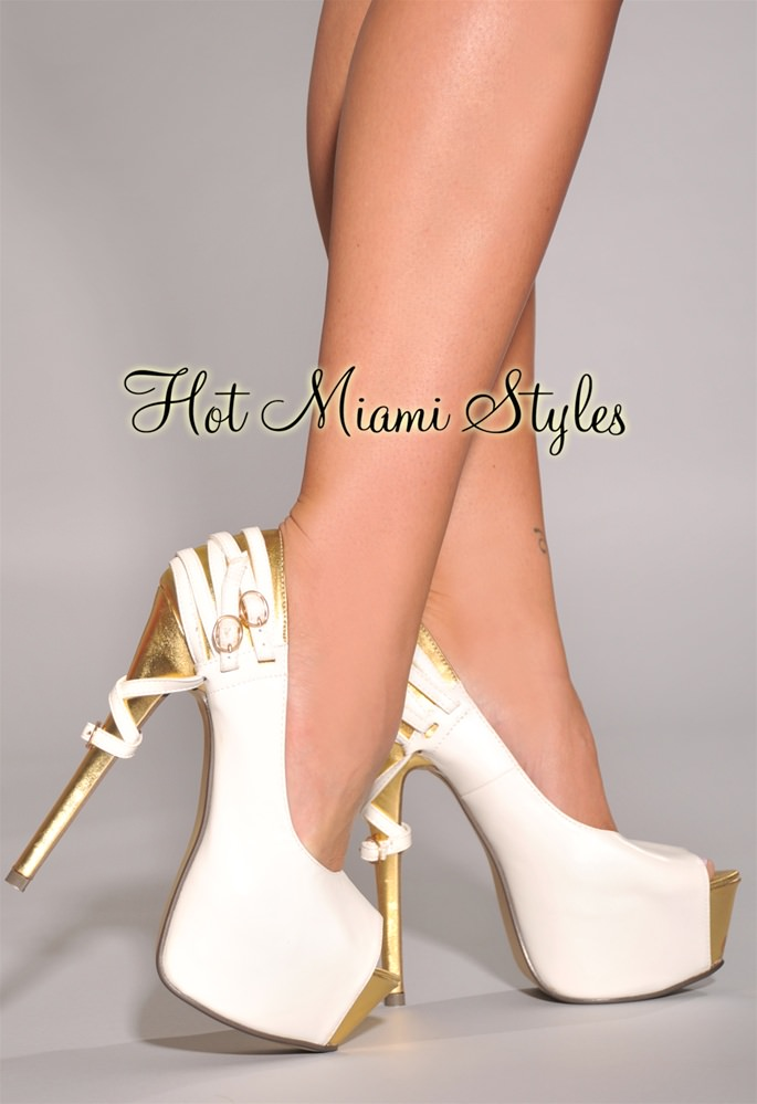 White And Gold High Heels 3FKMnTz8