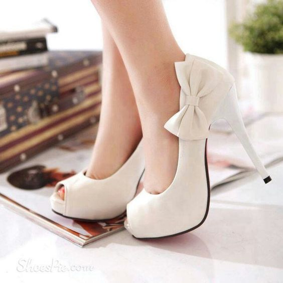White Heels With Bow VnC0RtOF