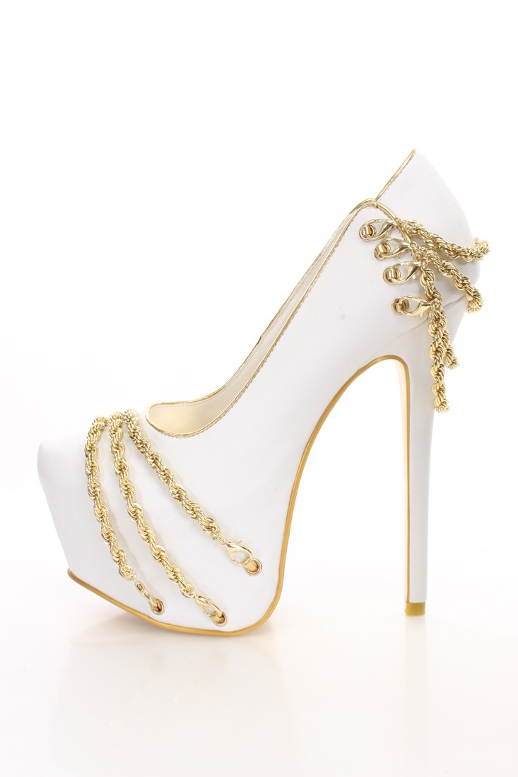 White Heels With Gold Chain E7TuHAcW