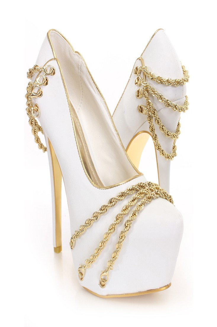 White Heels With Gold Chain IfqOvazm