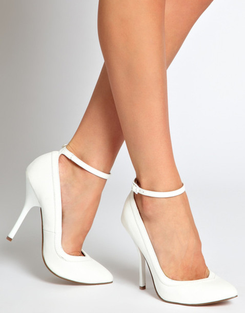 White Heels With Strap sstH62tp
