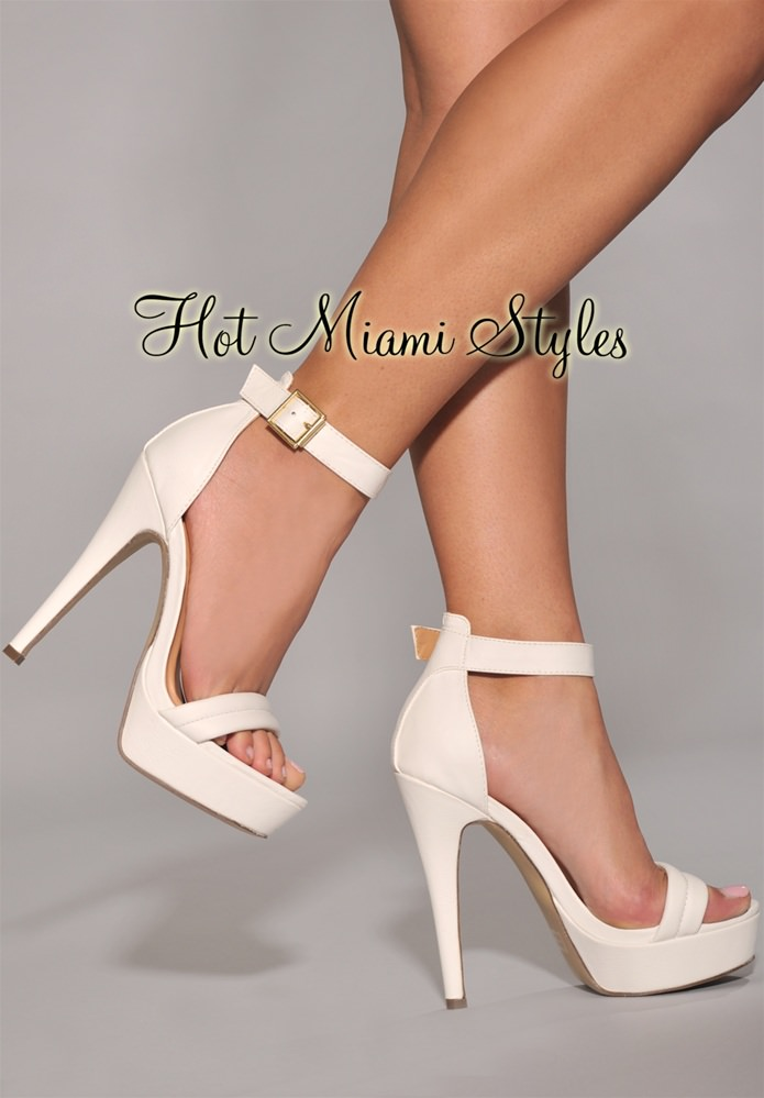 White High Heels With Strap AwfA7RKJ